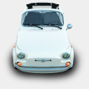 Icon: Fiat-500, silver-cars archigraphs, Pixel: 128 x 128 px