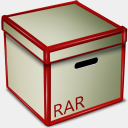 Icon: RAR Box, bagg-and-boxs babasse, Pixel: 128 x 128 px