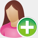 Icon: She User Add, aesthetica-2 dryicons, Pixel: 128 x 128 px