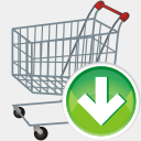 Icon: Shopping Cart Down, aesthetica-2 dryicons, Pixel: 128 x 128 px