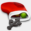 Icon: Removable-drive, red-christmas harwen, Pixel: 128 x 128 px