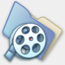 Icon: Folder Video, pastel iconica, Pixel: 128 x 128 px
