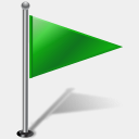 Icon: Flag1RightGreen-2, gis-gps-map icons-land, Pixel: 128 x 128 px