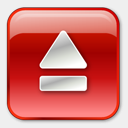 Icon: Eject Normal Red, play-stop-pause icons-land, Pixel: 128 x 128 px