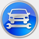 Icon: Car Repair Blue, points-of-interest icons-land, Pixel: 128 x 128 px