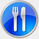 Icon: Restaurant Blue, points-of-interest icons-land, Pixel: 128 x 128 px