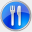 Icon: Restaurant Blue, points-of-interest icons-land, Pixel: 64 x 64 px