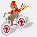 Icon: monkey-bicycle, circus iconshock, Pixel: 128 x 128 px