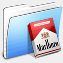 Icon: Aqua Stripped Folder Marlboro, aqua-blend laurent-baumann, Pixel: 128 x 128 px