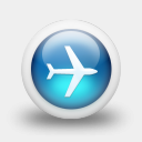 Icon: Glossy 3d Blue Plane, clean-3d mysitemyway, Pixel: 128 x 128 px