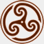 Icon: Brown Wheeled Triskelion 2, celtic-knot shiftercat, Pixel: 64