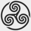 Icon: Grey Wheeled Triskelion 1, celtic-knot shiftercat, Pixel: 64