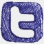 Icon: Twitter, doodle spoon-graphics, Pixel: 64