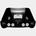 Icon: Nintendo 64 Black, console sykonist, Pixel: 128 x 128 px