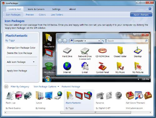 Software screen shot: IconPackager